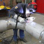 Welder welding pipe connections